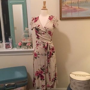 Silk Banana Republic floral wrap dress
